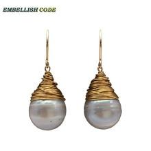 handmade pearls Gold plated hook dangle earring baroque grey gray pearl fire ball style tear drop shape pretty elegant for Lady