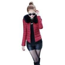 Women Winter Coat Short Thick Jacket Slim Hood Down Parkas Black M-XXL