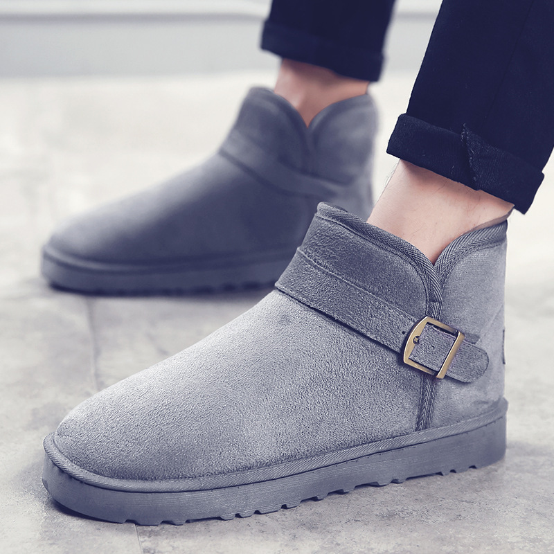 Winter Snow Boots Men Shoes Warm Slip On  Male Ankle Boot Flock Buckle  Footwear High Quality mycolen men boots 2017 winter cow leather snow boots british fashion men shoes men footwear thick bottom rubber ankle boot