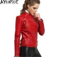 Ayunsue 100% real casaco de pele carneiro feminino jaqueta de couro genuíno curto fino jaquetas para mulher outerwear wyq793