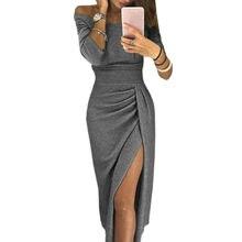 1a265486285 Демисезонный вечерние платье нерегулярные Разделение Slash сексуальное  платье изящная упаковка бедра миди платье Зима Женское платье