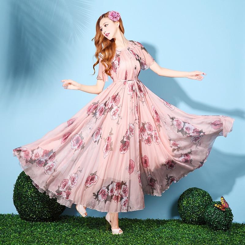 Women's Short Sleeved Chiffon Floral Beach Maxi Dress