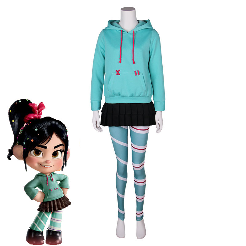 Ralph Breaks the Internet: Wreck-It Ralph 2 Vanellope von Schweetz Cosplay Costume Casual Outfits Halloween Carnival Uniforms