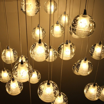 Fashion Modern LED Droplight Spherical Bubbles Crystal Pendant Light Fixtures For Living Dining Room Hanging Lamp Home Lighting 40cm acrylic round hanging modern led pendant light lamp for dining living room lighting lustres de sala teto
