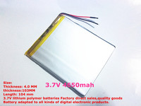 1PCS Free Shipping Size 40103104 3 7V 4650mah Lithium Polymer Battery For IPad 3 Tablet PCs