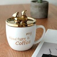 400ml Ceramic mug with lid spoon golden squirrel cute jewelry mug lid coffee mug Korean simple milk mug