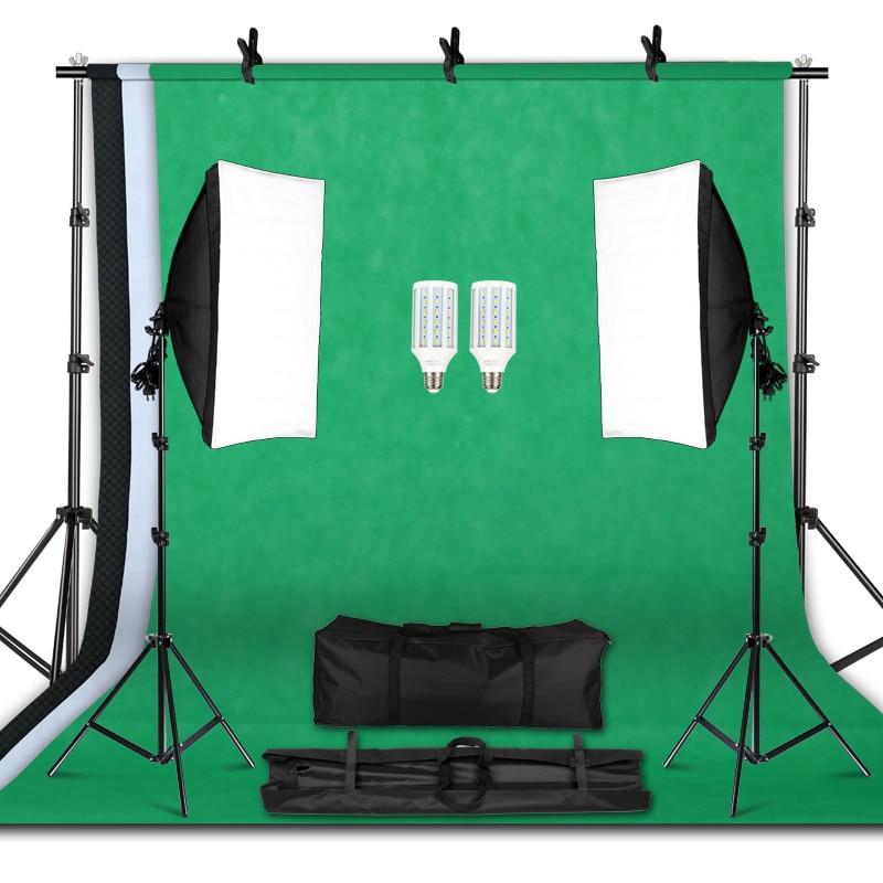 Kit professionnel d'équipement d'éclairage de photographie avec le support mou de fond de parapluie de Softbox avec le Studio de Photo de lumière de bras de boom-in Accessoires pour studio photo from Electronique    1