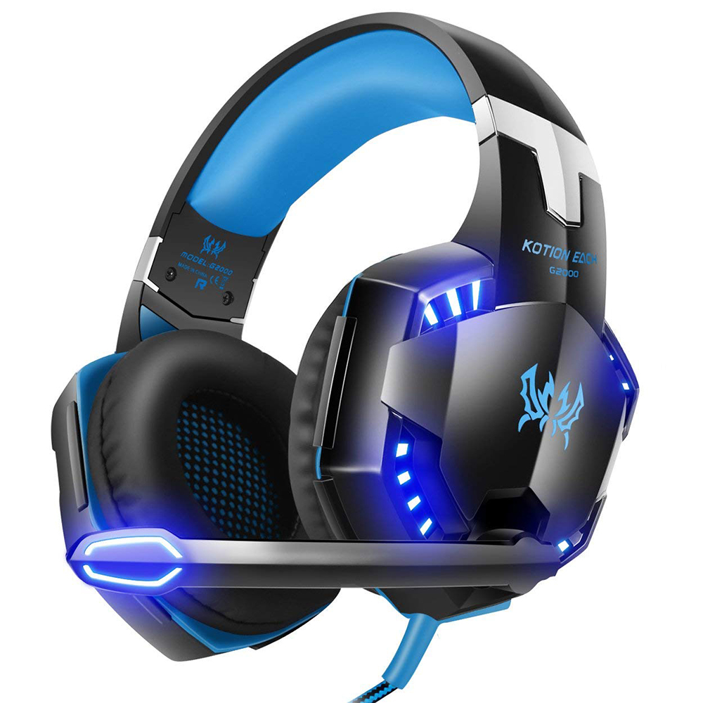 KOTION EACH G2000 Gaming Headset Surround Stereo Gaming Headphones with Noise Cancelling Mic LED Lights for Xbox One PS4 PC