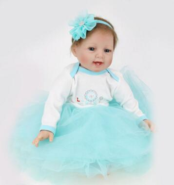 Silicone reborn dolls 55cm Alive Dolls For Kids accompany Sleep Cute Vinyl Plush blonde doll Girl Lifelike Kids Toys silicone