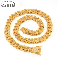 SDA Hiphop Men Necklace Chain Iced Out Miami Curb Cuban Gold color AAA CZ Stone Inlaid 12mm 18mm Wide 24inch Top Quality N1758