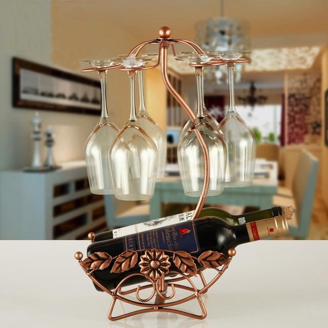 철 와이어 메이플 리프 중공 와인 랙 스탠드 마시는 안경 stemware 랙 선반 와인 병 & 유리 컵 홀더 디스플레이