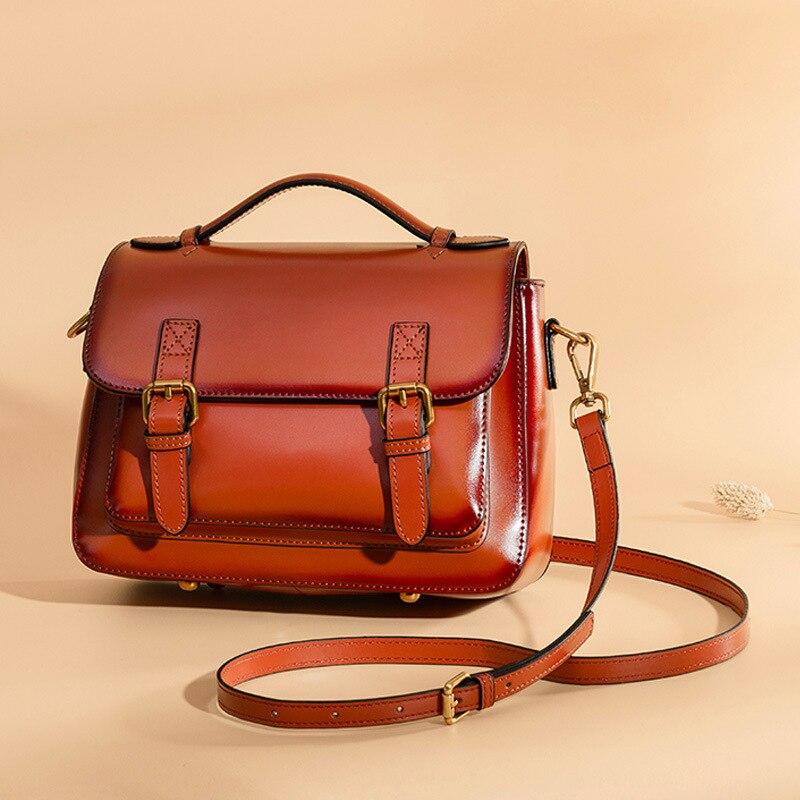 2019 Satchel Bag Retro Style Women Messenger Bag Genuine Leather Vintage Ladies Handbag Shoulder Crossbody Bags