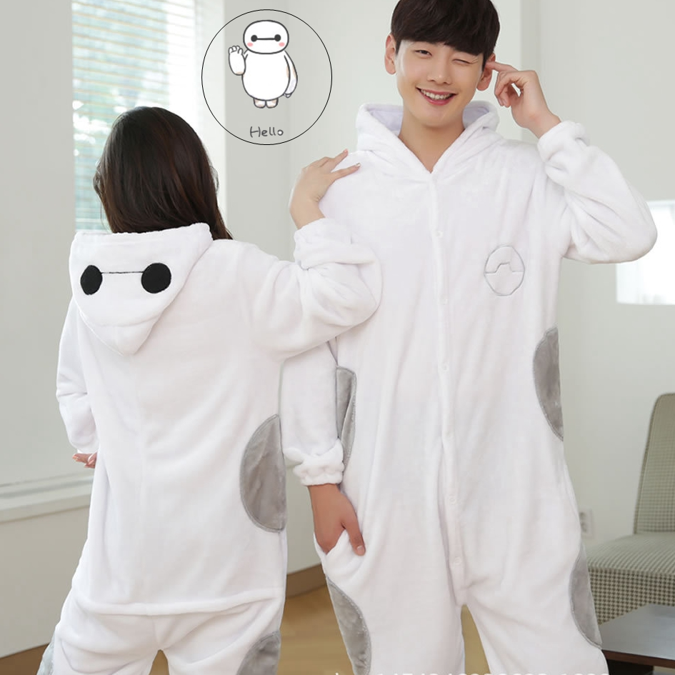 Cute White Robot Cartoon Adult Homewear Animal Halloween Carnival Costume Pajamas Sleepw ...