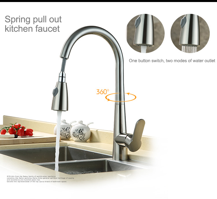 OLMEY 2 Functions Commercial Kitchen Faucet with Pull Down Sprayer, Single Lever Single Hole Sink Taps Kitchen Mixer 45