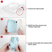 Waterlowrie Camera Bag Transparent Plastic Cover Camera Protect Case For Fujifilm Instax Mini 9 8 8+ Camera Bag + Camera Strap