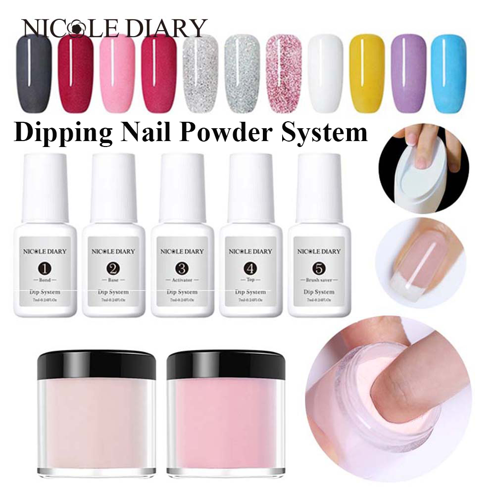 NICOLE DIARY 10ml Dipping System Powder Gradient French Nail Color Glitter Without Lamp Cure  Nail Art Decorations