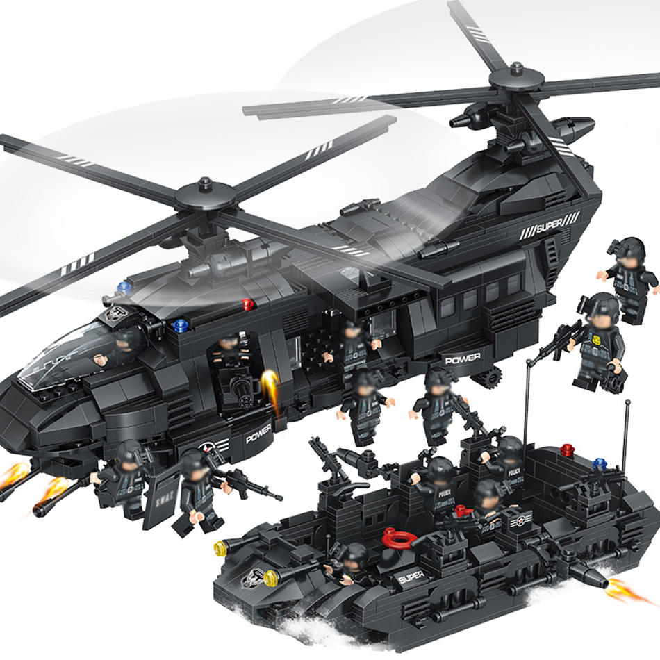 1351pcs Large Legoings Model Building Blocks Kits SWAT Team Transport Helicopter SWAT City Police Toys for