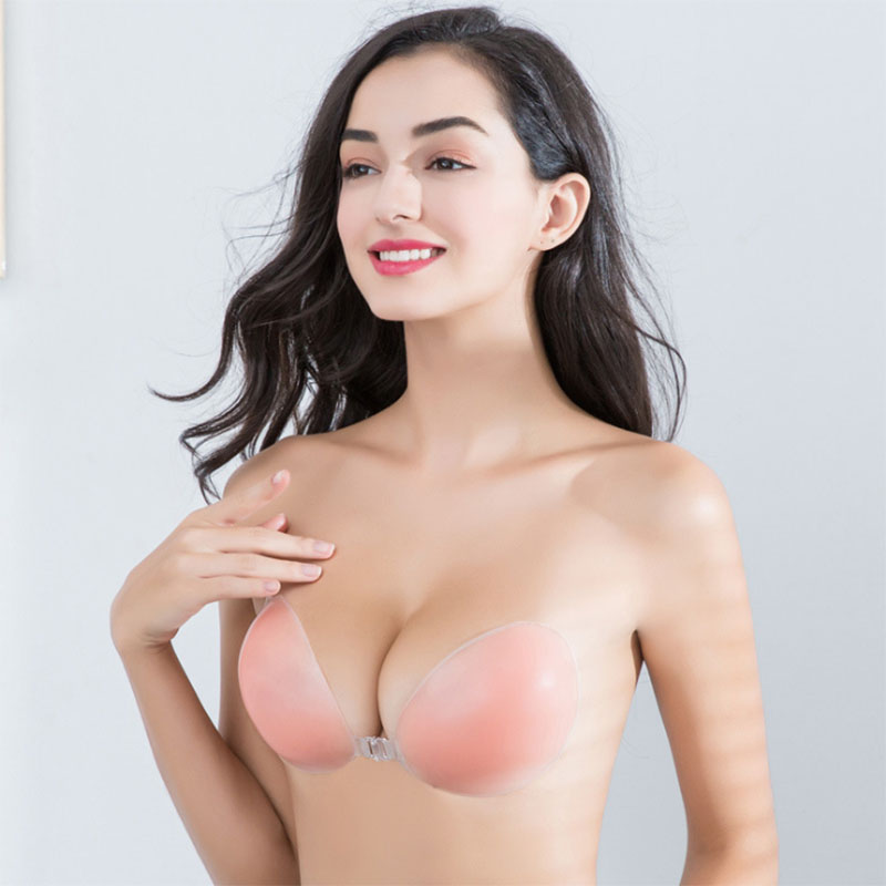 Silicone Invisible Bra Self-adhesive Backless Strapless Push Up U Shape Bra ABCD