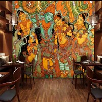 Free Shopping Custom Indian Buddha Image Oil Painting Mural Restaurant Decorative Backdrop Hotel Bedroom Gallery Mural