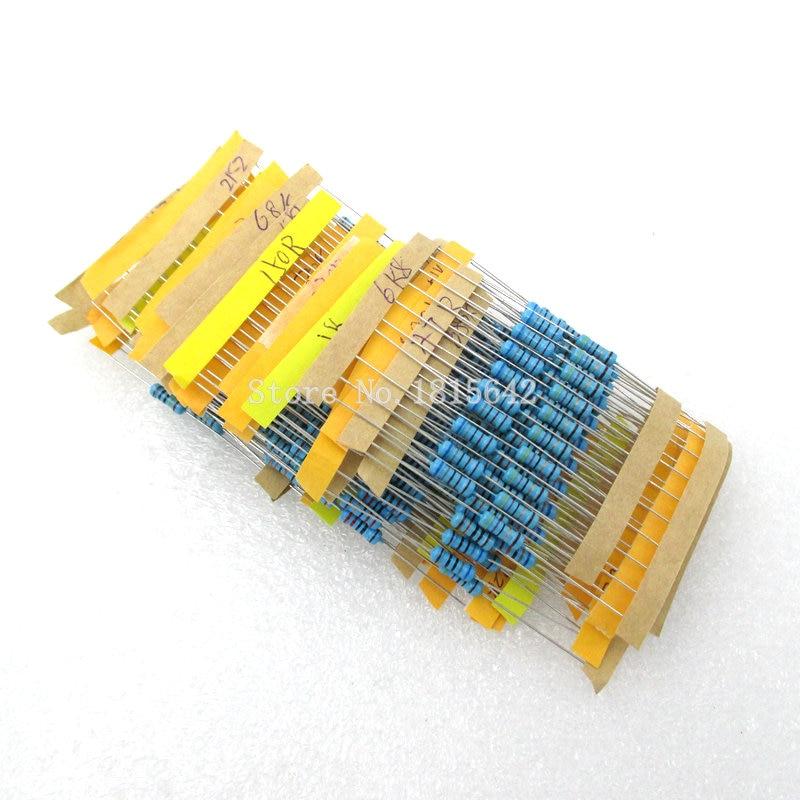 300PCS/LOT 1 Pack 10 -1M Ohm 1/2W Resistance 1% Metal Film Resistor Resistance Assortment Kit Set 30 Kinds Each 10pcs