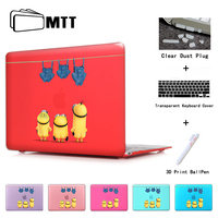 Cute Minions Jeans Insert Dark Red Rubberized Frosted Cover Case Skinfor Apple Macbook Pro 13 15