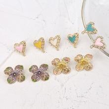korea sweet alloy drop oil heart-shaped stud earrings cute four-leaf clover flower for women diy jewelry accessories