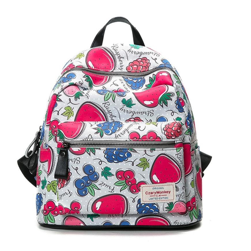 Designer Womens Backpacks Girls School Backbag Lovley Fruits Printed High Quality Female Casual Travel Bag Mochila Feminina