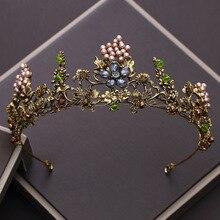 Vintage Black Crystal Pearl Bridal Crown Woman Tiaras Hair Jewelry Ornaments Hairwear Bride Headbands Wedding Hair Accessories цена