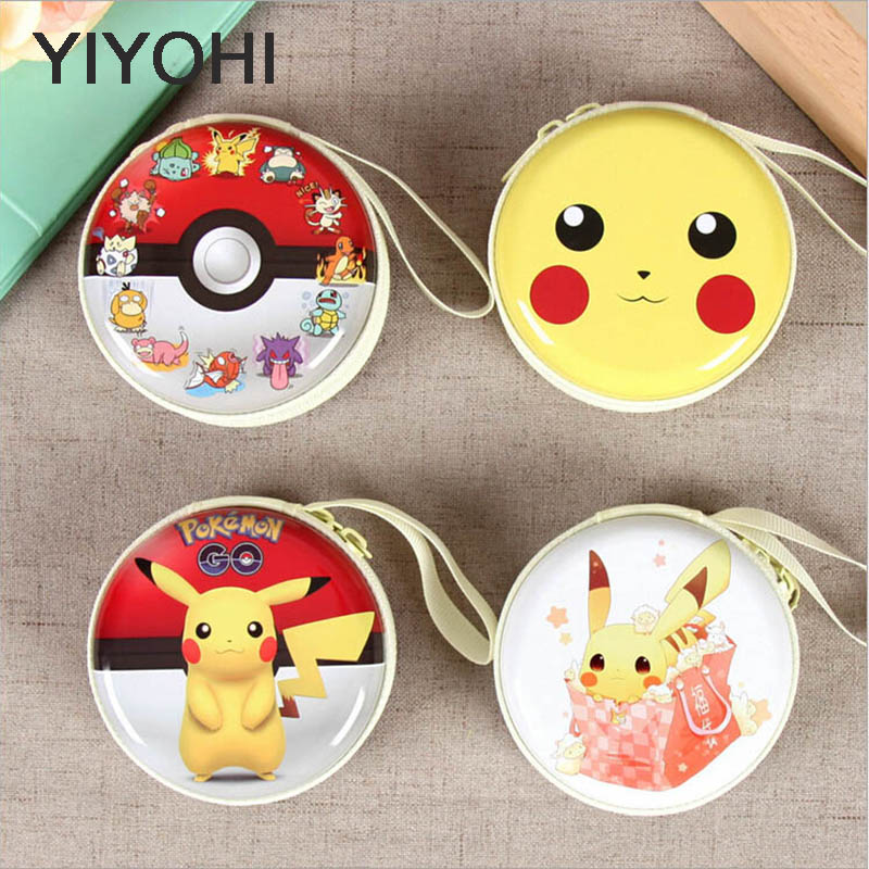 YIYOHI New Women Kawaii Pikachu Mini Bag Cartoon Coin Bag Purse kids Girls Mini Wallet Earphone Box Bags For Gift