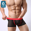 New Sexy Striped Mens Underwears Boxers Nylon Men Underwear Big U-Convex Male Cuecas Boxer Shorts Transparent Man Pouch Panties