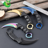 CS GO Camping Folding Knives Top Quality Tactical Claw Hobby Survival Karambit Ring Knife Card Knife