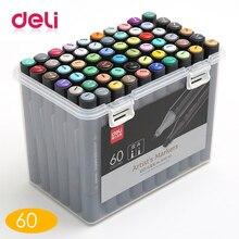 лучшая цена Deli 60 Color pen art marker drawing set colors children watercolor pen safe Alcohol solvent water washing graffiti health envir