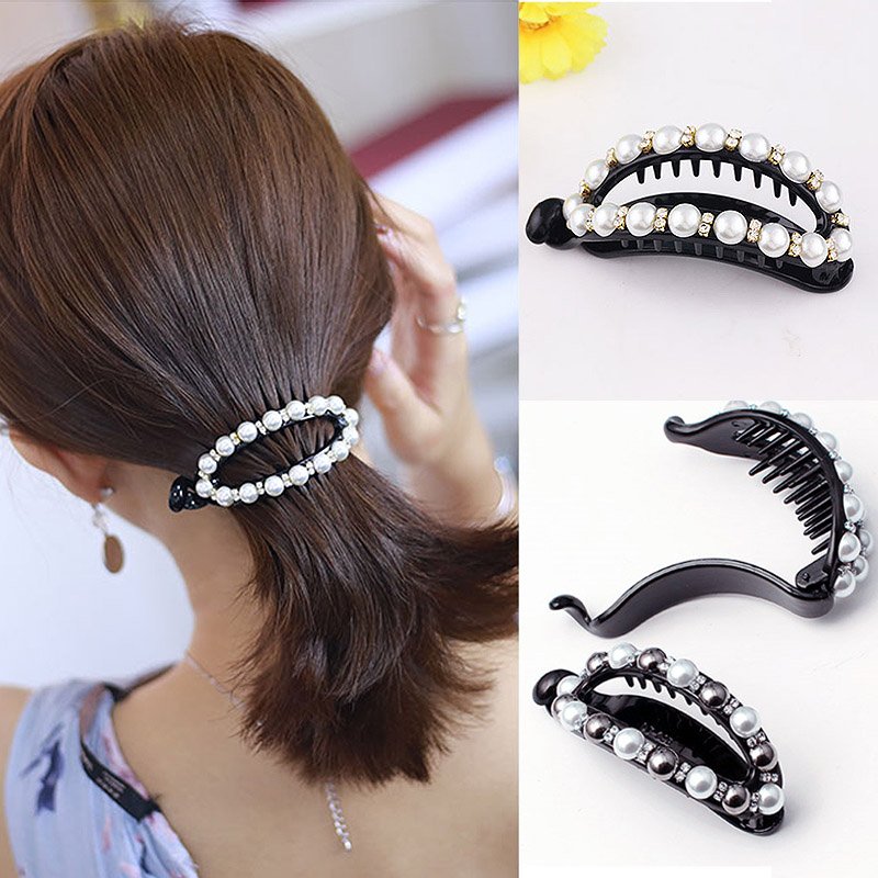 Sale1PC Women Girl Hair Clip Rhinestone Black White Pearls Ponytail Holder Hollow Out Hairpin Accessories