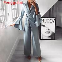 2019 Autumn Women Fashion Elegant Long Sleeve Workwear Formal Party Romper Irregular Flared Sleeve Knot Side Wide Leg Jumpsuit