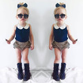 2017 New Spring Shortsleeved Girls 2pc Set Lace Blouse Striped Shorts Summer Baby Toddler Girls Set Fashion Girls Summer Clothes