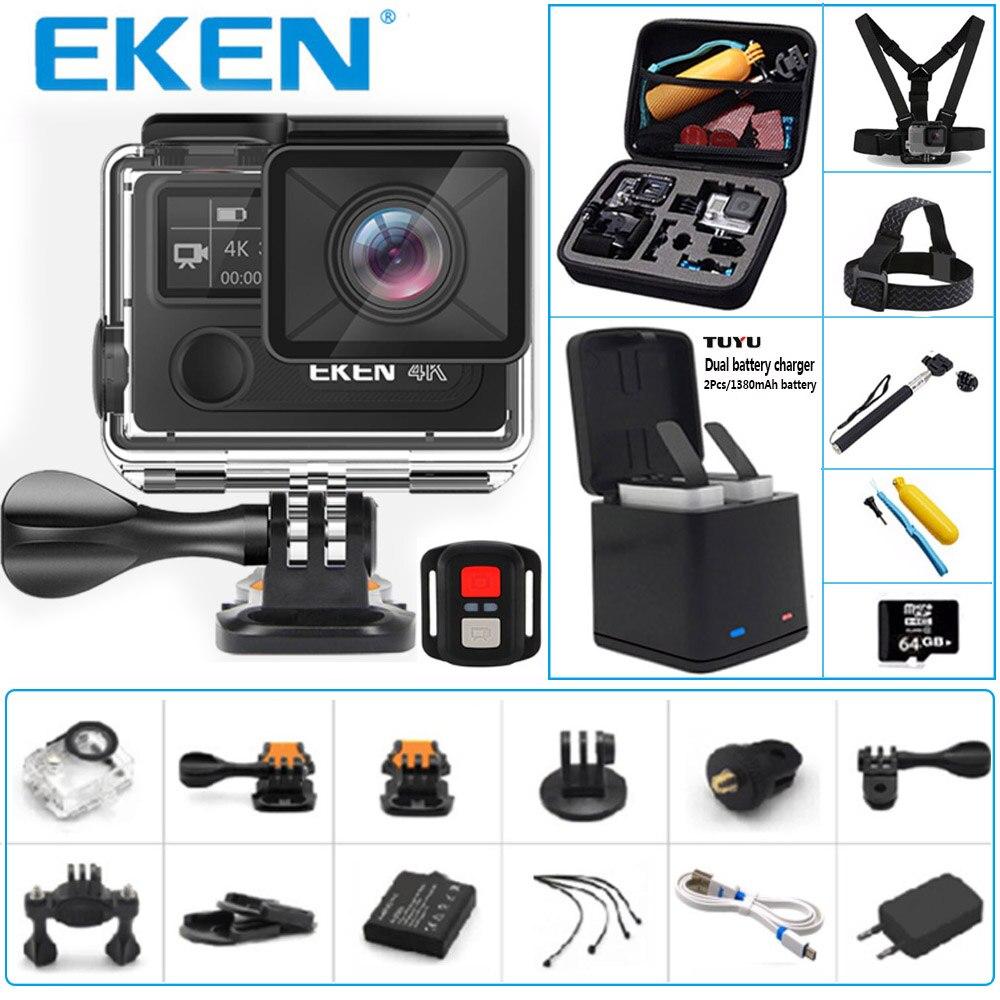 Оригинальный eken H8r спортивные Камера cверхвысокая чёткость 4k 30FPS Wi-Fi 2,0 Подводный Водонепроницаемый шлем Камера 14MP 1080 P 60fps DVR экшен-камера
