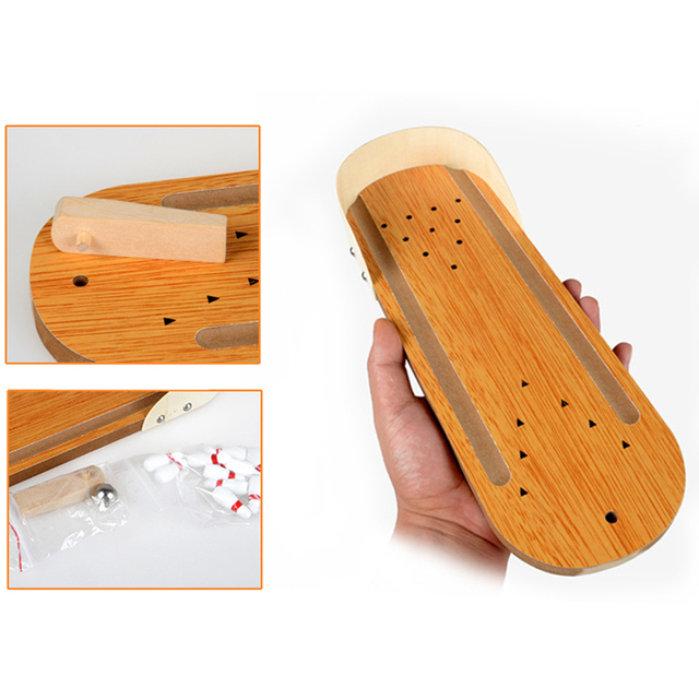 Wooden Mini Bowling Games Family Interactive Miniature Bowling Set for Kids Adults Entertainment Finger Board Game Kits 1