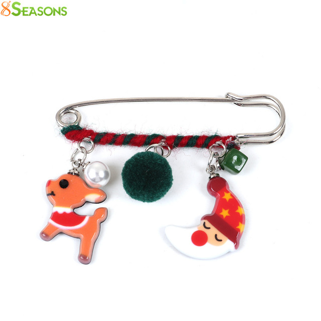 8SEASONS Christmas Pin Brooches Resin Pom Pom Ball Deer Santa Claus Bell Dull Silver Color Multicolor 69mm x 52mm, 1 Piece