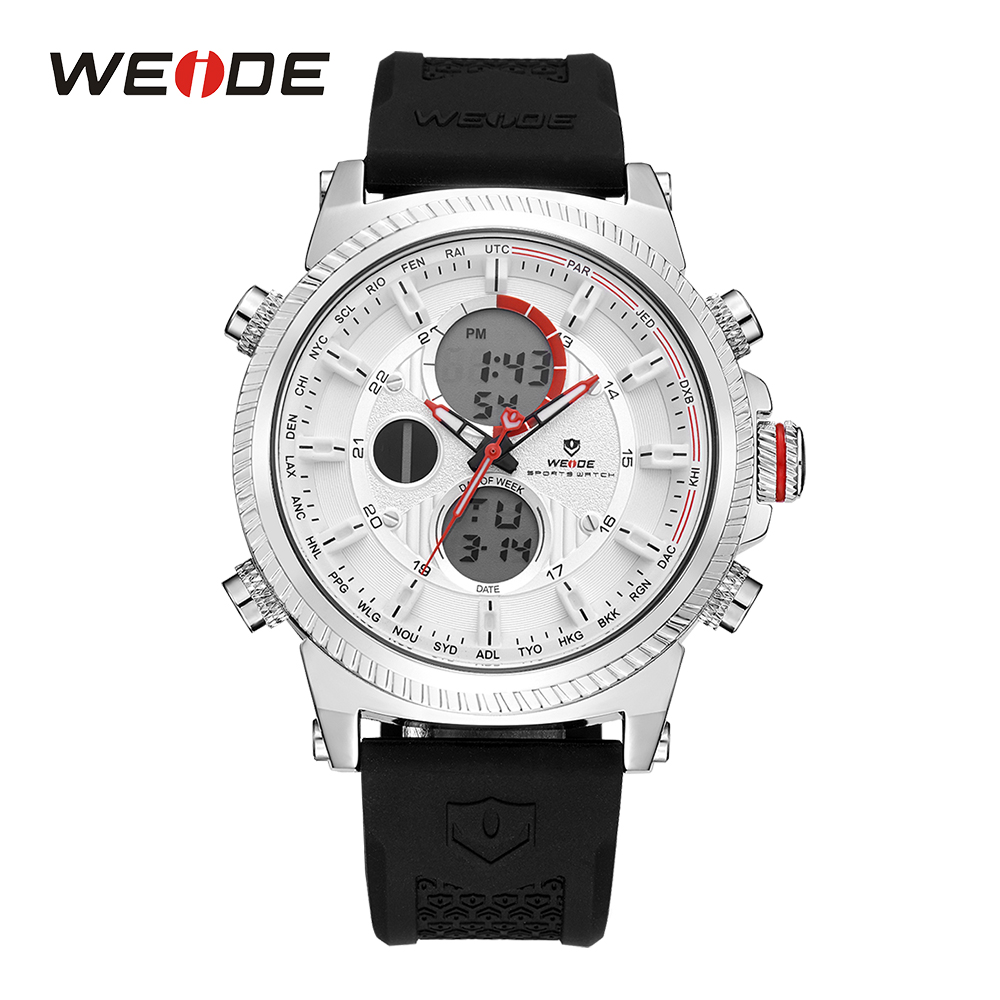 WEIDE Mens White Sport Quartz Date Day Alarm Chronograph Watch Digital LCD Display Silicone Strap Band Buckle Men Wristwatches weide men sports watch quartz digital lcd display stopwatch silicone strap buckle date black dial military wristwatches for man