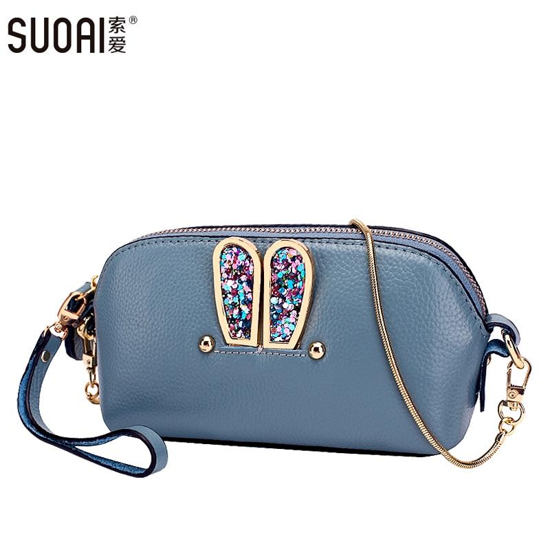 SUOAI 2016 Women Genuine Leather Shoulder Bag Fashion Leather Diamond Female Chain Party Gift Handbags