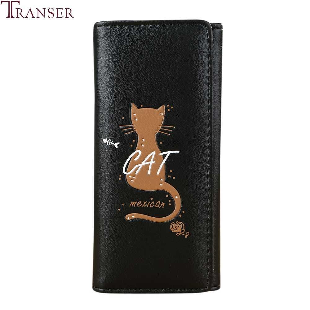 Transer 2018 mujer cartera de mano larga de moda lindo gato monedero tarjetero mujer Simple de gran capacidad bolso Carteras #40