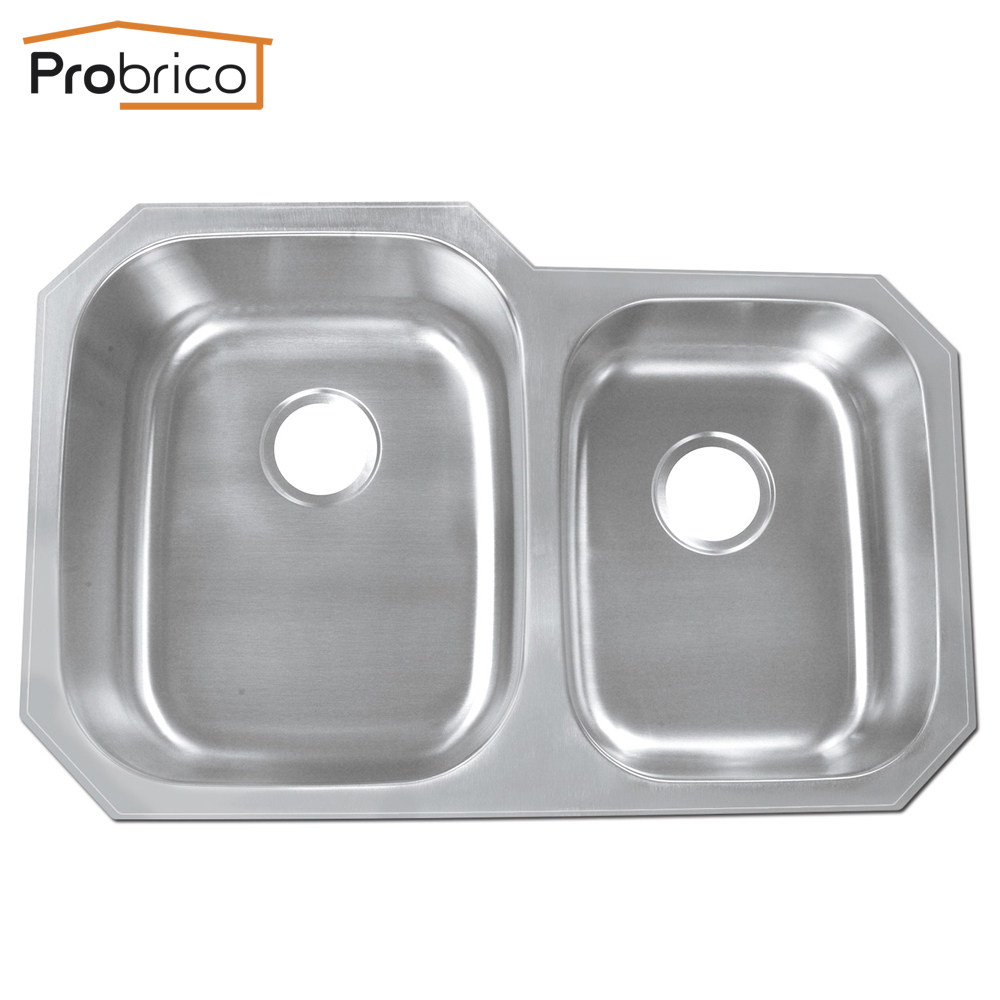 """Probrico Stainless Steel Double Bowl Undermount Kitchen <font><b>Sinks</b></font> 32""""x20 7/8""""x9"""" KS8252ALBS USA Domestic Delivery"""