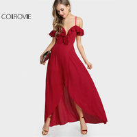 COLROVIE Sweetheart Sexy Red Party Dress 2017 Cute Ruffle Women Cold Shoulder Summer Maxi Dress New