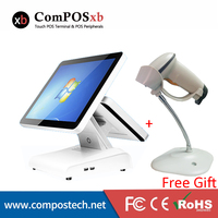 15 Inch Electronic Touch Screen All In One Pos Machine/Cash Register Pos System For Supermarket With Scanner For Free