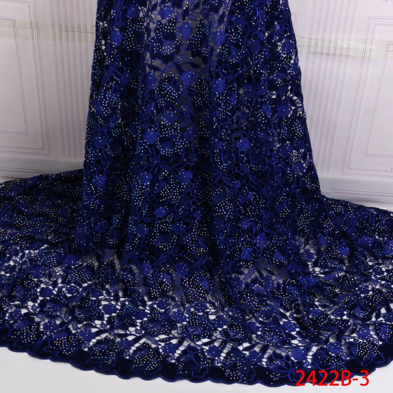 Hot Sale Velvet Lace Fabric with Stones Latest Nigerian Guipure Lace Material African Tulle Lace Fabric