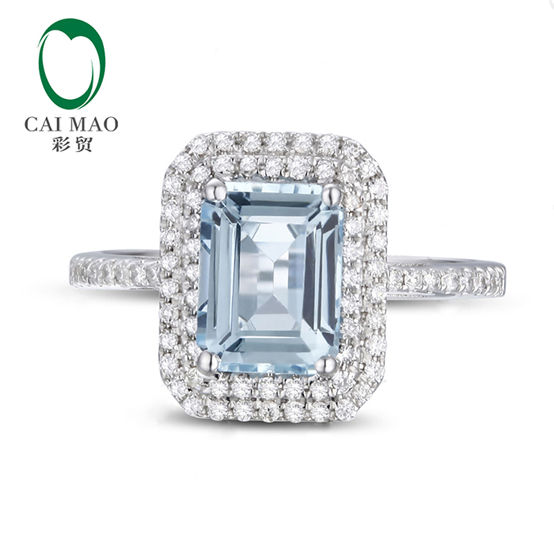 Caimao 6x8mm Emerald Cut Aquamarine 14k White Gold Natural 0 38ct Diamond Ring Fine Jewelry