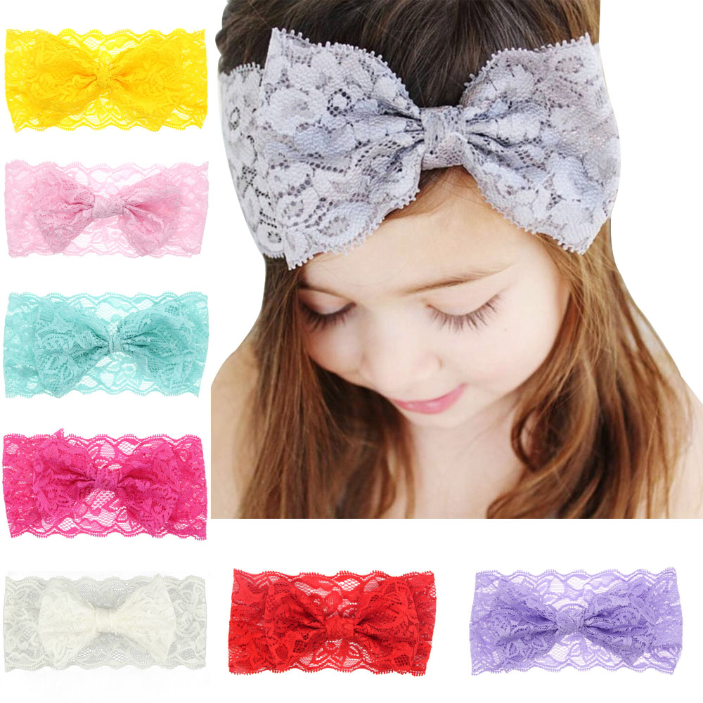 2017 Hot Sale Cute Girl New Lace 8 Colors bow Headbands lovely  Bow Hairpins Hair Ribbon Floral Polyester Hair Accessories H426 1piece retail kids girl styling tools crown hair clips princess hairpins bow headbands for party accessories