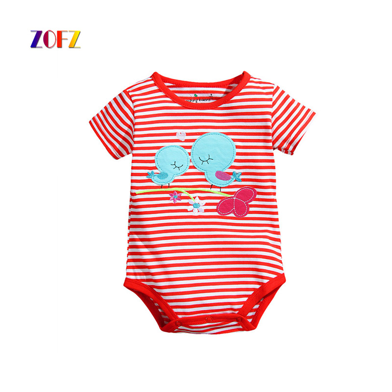 ZOFZ new baby costume short sleeve baby girl clothes leisure overalls cotton body clothes for newborns striped romper for bebes