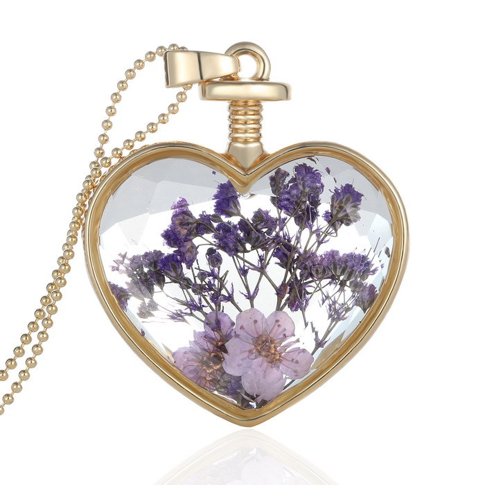 Gold Glass Locket Necklace
