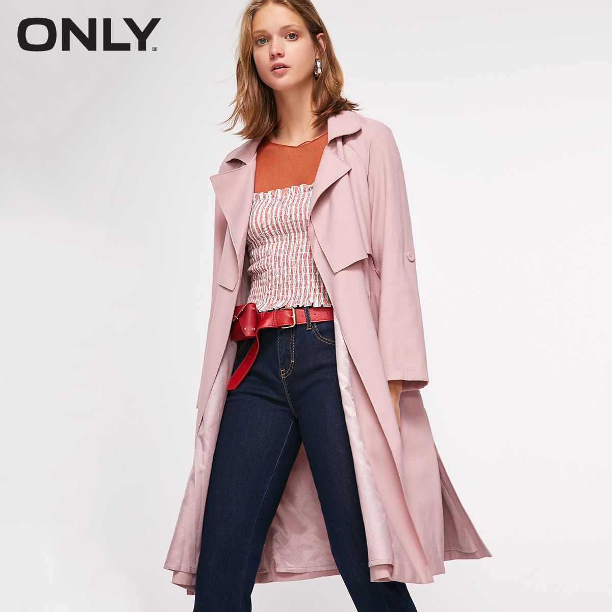 ONLY Spring Summer New Women's Slim Fit Adjustable Sleeves Side Slits Long Wind Coat |118336549